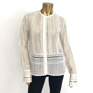 DEREK LAM 10 CROSBY COTTON/SILK LONG SLEEVE TOP 10